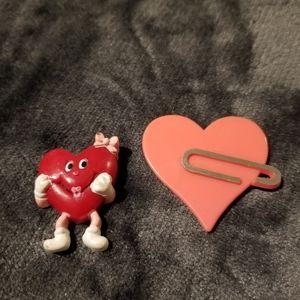 Vintage Valentine's Day Heart Plastic Pins